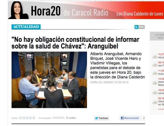 Debate del día 10 de enero en el programa Hora20 de Caracol Radio de Colombia